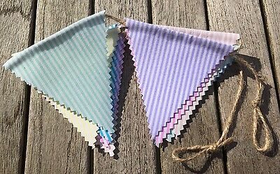Bunting - Mixed Candy Stripe Vintage Shabby Chic Rustic Double Sided Fabric 6ft