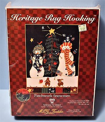 "SALE! Heritage Rug Hooking Kit / Patchwork Snowmen / 20"" x 27"" by Brother Sister"