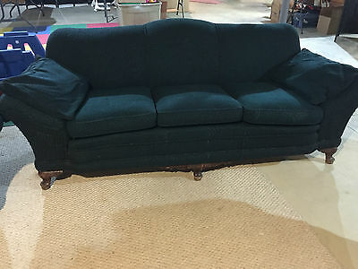 Vintage Antique Retro Upholstered Couch Nd Chair - Dark Green