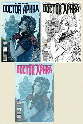 Star Wars Doctor Aphra #1 Ashley Witter Exclusive Color + B&W + Pink Variant Set