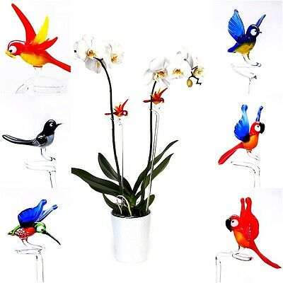 Orchid Flower Plant Support Glass Bird Ornament Stakes Canes For Flower Pot Tub