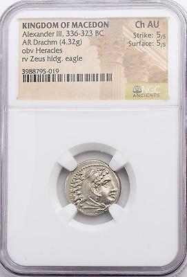 NGC Choice AU Ancient Greek Macedonia Coin Alexander the Great Silver Drachm