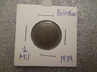 "Palestine 1939 One Mil Copper Coin Beautiful ""Red"""