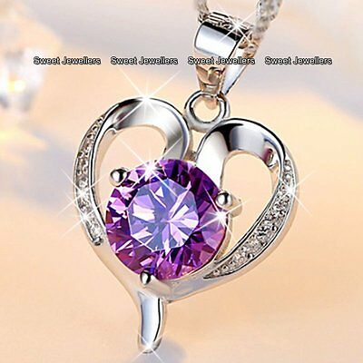 Purple Crystal Silver Heart Necklace Girlfriend Promise Xmas Gifts For Her Women