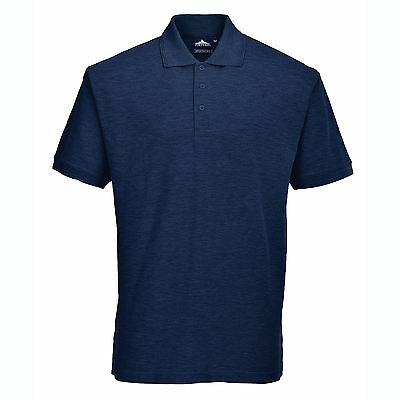 Portwest Unisex Naples Polo Shirt Workwear Casual NAVY BLUE XL 46-48