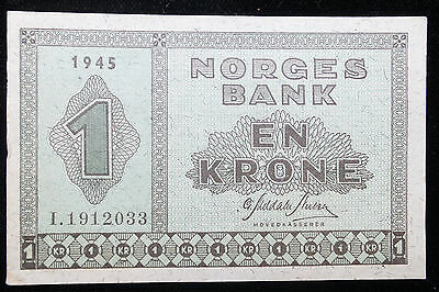 1945 NORWEGIAN 1 KRONE BANKNOTE *PICK 15a AU* REDUCED