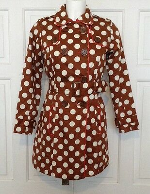 Next 11-12 Years Height 152 Cms Lovely Brown Polka Dot Cotton Mac Coat