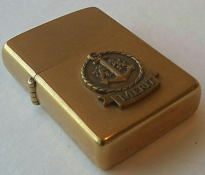 Zippo Brushed Brass Solid Brass Windproof MERIT 1985 IN BOX RARE VINTAGE