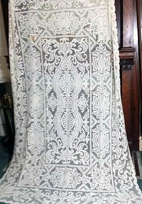 Antique Vintage Italian Hand Needle Knotted Lace Linen Tablecloth  63x95