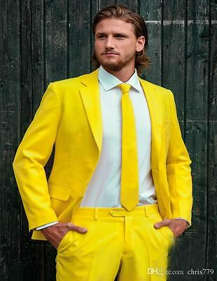 Custom Made Fashion Groom Tuxedos Yellow One Button Notch Lapel Men Suits Male B