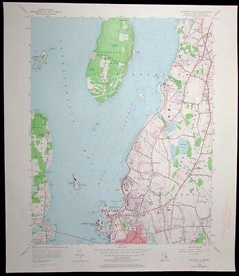 Prudence Island Rhode Island US Naval Reservation vintage 1973 USGS Topo chart