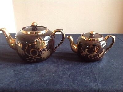 Vintage Gibson Brown and Gold Floral Teapots - Set of 2
