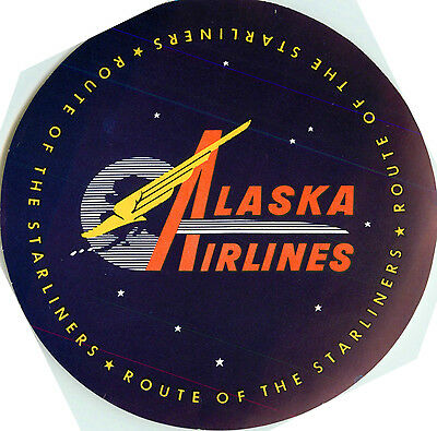 Route of the Starliners ~ALASKA AIRLINES~ Great Old Luggage Label, c. 1955