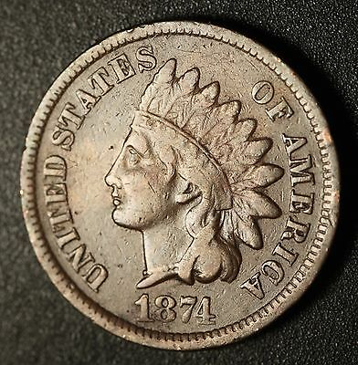 1874 INDIAN HEAD CENT With LIBERTY - Near VF VERY FINE