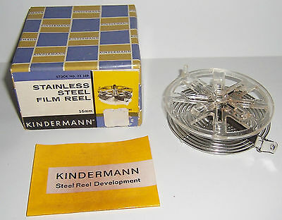 Kindermann 16mm Stainless Steel Developing Reel with Original Box Directions
