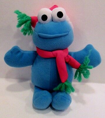 "CHRISTMAS COOKIE MONSTER 8"" PLUSH DOLL, Sesame Street, Fisher Price"