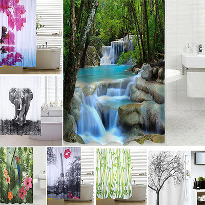 12 Hook 3D Bath Shower Curtain Fabric Polyester Waterproof Mould Proof Non-toxic