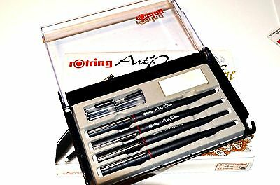 ROTRING ART PEN SET,2,3 -1.5-1.1-1.9 mm nibs,MADE IN  WEST GERMANY 80s