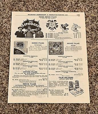 Vtg '60s Three 3 Stooges Home Movies Films Catalog Page Our Gang Scrappy