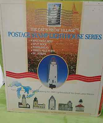 Cats Meow Village- Postage Stamp Lighthouse Series-NIP-Great Lakes Lighthouses