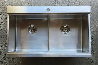 838*500*200 Stainless steel kitchen double bowls sink top mount tap hole