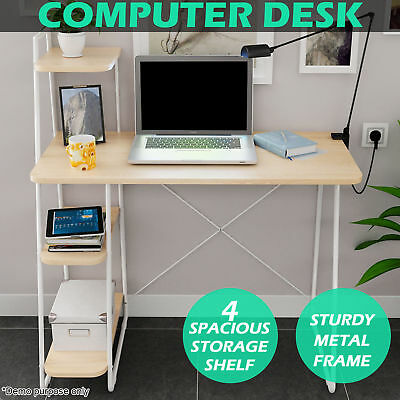Computer Desk 4 Tier Shelf Storage Bookcase Home Office Student Study Table
