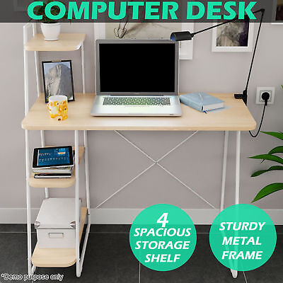 Office Computer Desk 4 Tier Storage Shelf Bookcase Bookshelf Student Study Table