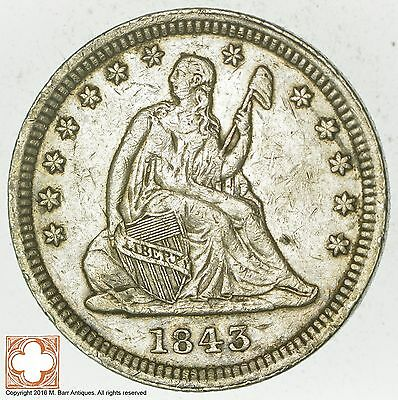 1843 Seated Liberty Silver Quarter *5788