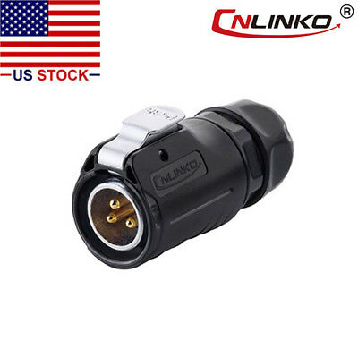 3 Pin Power Industrial Connector Male Plug Outdoor Waterproof IP67 AC / DC