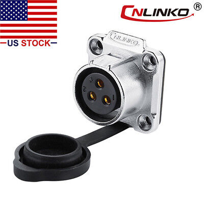3 Pin Power Industrial Connector Female Socket Outdoor Waterproof IP67 Signal