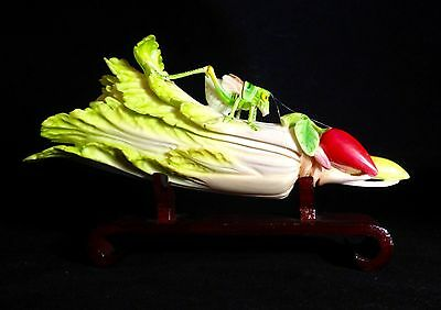 Antique Chinese Carved Polychromed Bovine Bone Cricket Bok Choy Cabbage w Stand
