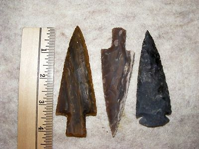 "Set Of 3 4"" Stone Spearheads Arrowheads Texas Estate Art-Bs So3-496"