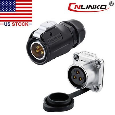 CNLINKO 3 Pin Power Connector Male Plug & Female Socket Outdoor Waterproof IP67