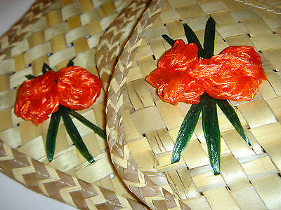 Vintage Straw Grass Woven Palm Leaves Leaf Placemats Set of 4 Tropical Floral