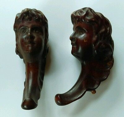 Carved Architectural Wood Face Pediment Finial Victorian Furniture Salvage
