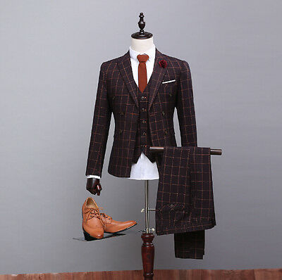 Men's Double Breasted Wedding Suits With Lattice Bespoke Groom Formal Tuxedos