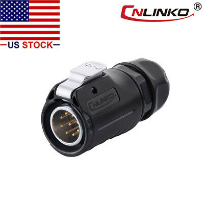 9 Pin Power Signal Connector Male Plug Outdoor Waterproof IP67 AC / DC