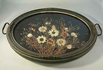 Antique Oval Wood Barbola Framed Tray