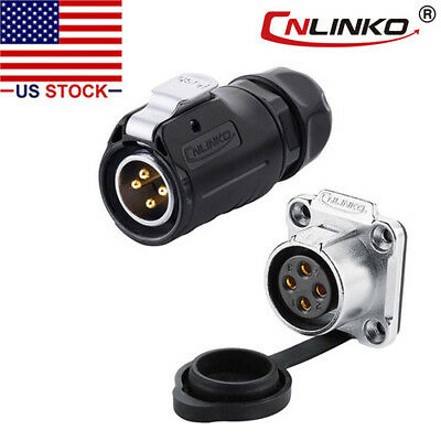 CNLINKO 4 Pin Power Connector Male Plug & Female Socket Waterproof Outdoor IP67