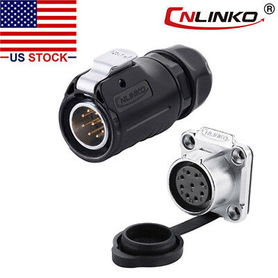 9 Pin Power Signal Connector Male Plug & Female Socket Outdoor Waterproof IP67