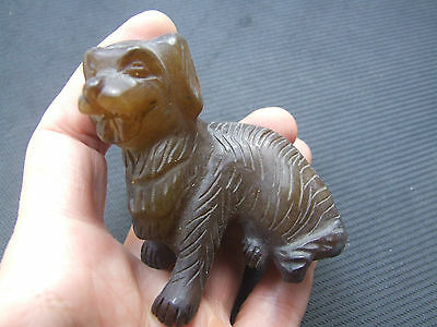 Rare Antique Chinese Carved Natural Jade Carved Dog Figure Statue