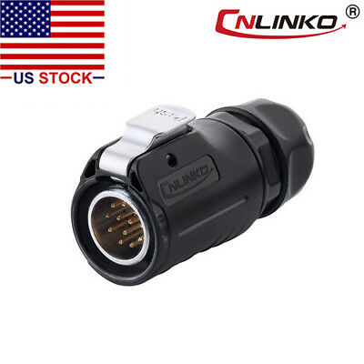 CNLINKO 12 Pin Power Signal Connector Male Plug Outdoor Waterproof IP67 AC / DC