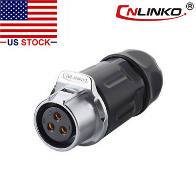 CNLINKO 3 Pin Power Circular Connector Female Dock Outdoor Waterproof IP67