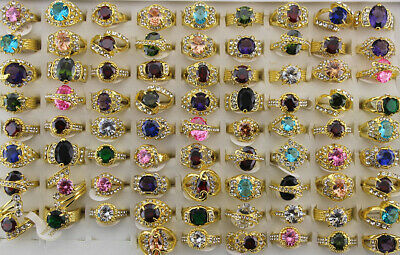 New Wholesale lots 20pcs various colorful Imitation zircon charming lady's rings