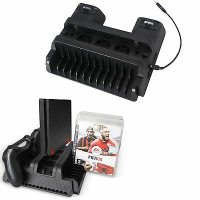 5V Vertical Stand Dual USB Charger Cooling Fan Dock Hub for PS4 Slim PS4 Pro #GY