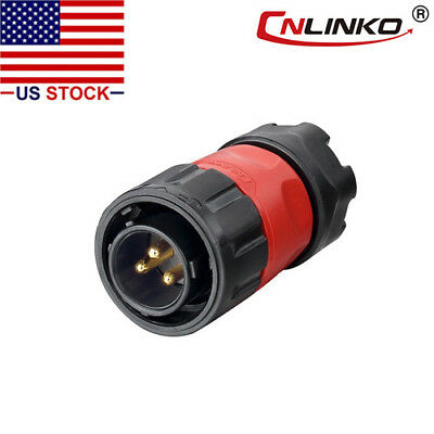 CNLINKO 3 Pin Power Signal Circular Connector Male Plug Outdoor Waterproof IP67