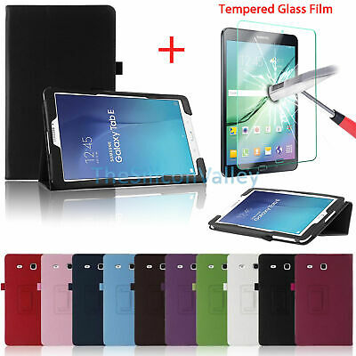PU Leather Smart Case Stand Cover+Screen Protect For Samsung Galaxy Tab E 9.6/ 8