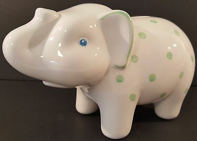 Tiffany & Co.-White-Earthenware-Elephant Bank-w/Handpainted Details-Italy