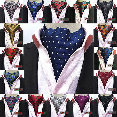 Men Paisley Polka Dots Silk Cravat Scarves Ascot Wedding Party Prom Neck Ties