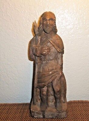 Medieval Polychome Celtic Anglo-Saxon Carved Wood Warrior Statue Figure